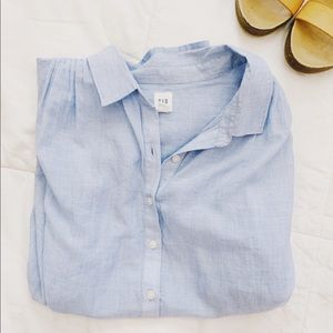 GAP Blue Cotton Pleated Blouse Top M